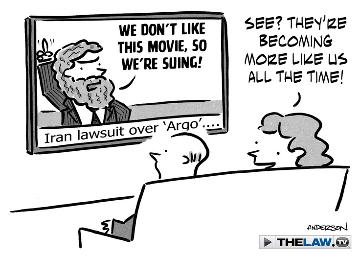 """Iran is planning to sue Hollywood over the Oscar-winning """"Argo"""" because of the movie's allegedly """"unrealistic portrayal"""" of the country. On Wednesday, Iran's PressTV ran a story written by 9/11 conspiracy theorist and author Kevin Barrett that raised the possibility """"Argo"""" is a """"covert operation disguised as a movie.""""  Plans for a lawsuit developed after a group of Iranian officials met in a gathering called """"The Hoax of Hollywood"""" for a screening of """"Argo,"""" according to the AP."""