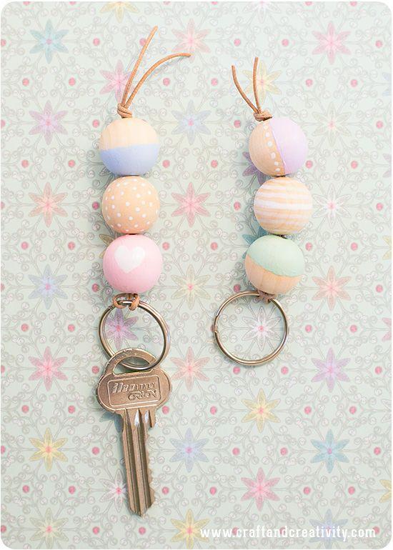 DIY idea for parents! Wooden bead key chain