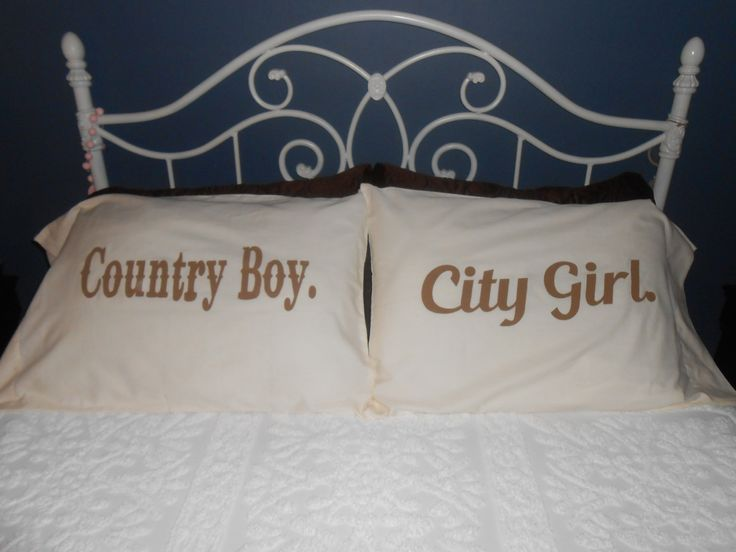 Country Boy and City Girl Hand Painted Pillowcases - Couples Gift Ideas by TreasuresShop on Etsy