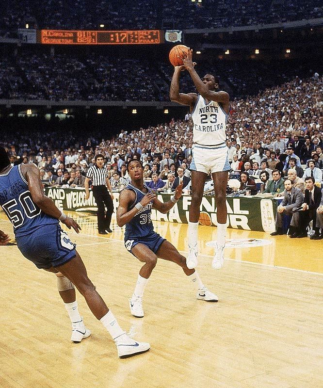 Michael Jordan at UNC hitting the game-winner against Georgetown during the 1982 NCAA Championship