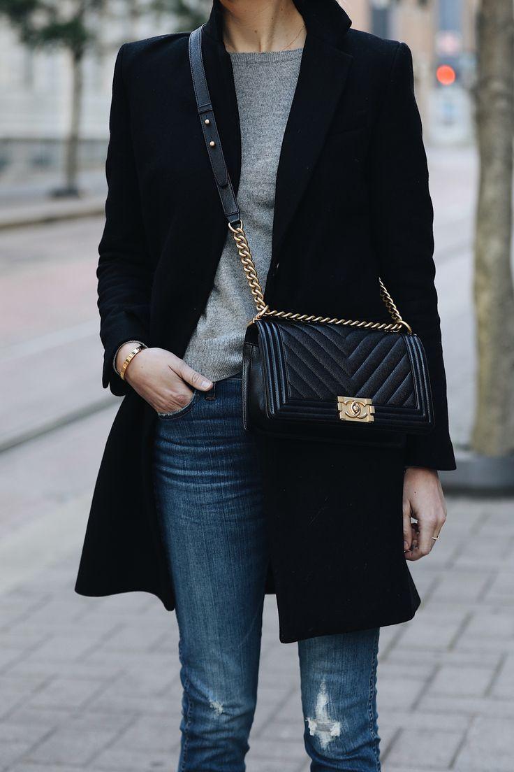 Woman Wearing Zara Black Wool Coat Grey Sweater Madewell Denim Jeans Chanel Black Boy Bag Fashion Jackson Dallas Blogger Fashion Blogger Street Style