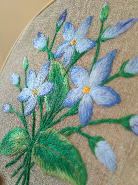 Hand embroidered Blue Flowers/ Home decor Medow от PetitCercleByL #PetitcerclebyL #chic #flowers #embroidery #decor #burlap #blue