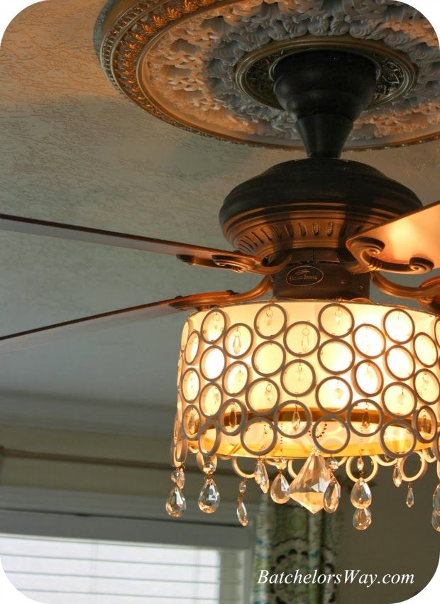 Batchelors Way: DIY Ceiling Fan Chandelier!  Idea for the living room. Looking for a makeover on our MUST HAVE bedroom ceiling fan. I want a cute chandelier in there but the ceiling fan has to stay.