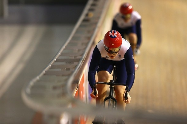 NEWPORT, WALES - JULY 19:  Jess Varnish leads from Victoria Pendleton during the Team GB Track Cycling Training Session at Newport Velodrome on July 19, 2012 in Newport, Wales.