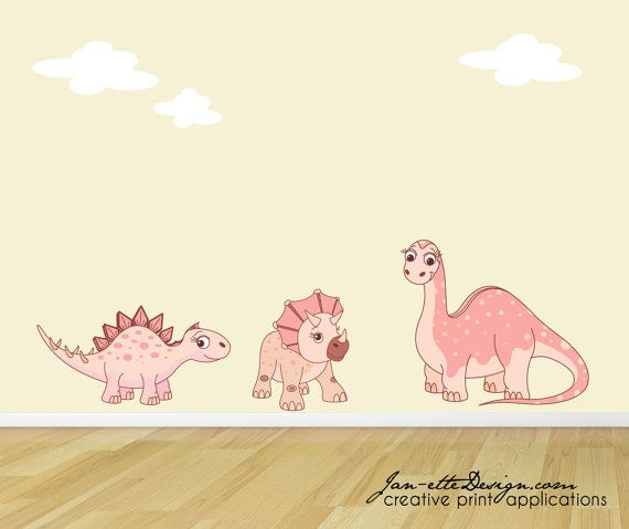 Girl Wall Decals Pink Dinosaur Wall Stickers Dinosaur Fabric Wall