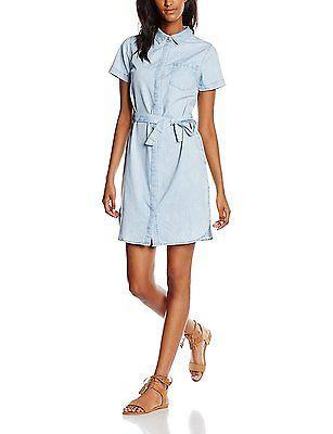 14, Blue (Mid Blue), New Look Women's Rainbow Denim Midi Shirt Dress NEW