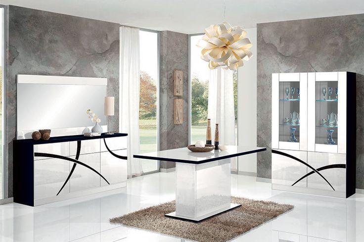 Salle manger design blanc laqu et noir avec clairage for Eclairage salle a manger led