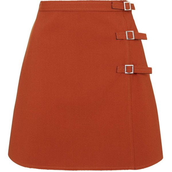 TOPSHOP TALL Buckle A-Line Mini Skirt ($80) ❤ liked on Polyvore featuring skirts, mini skirts, orange, topshop, red skirt, red a line skirt, short red skirt and short mini skirts