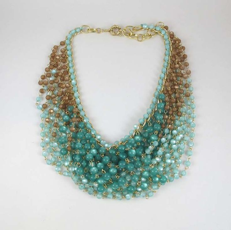 Als o from Cecilie Melli - necklace made from golden brown and turquoise glass pearls