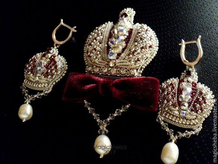 """Купить Брошь и серьги """"Царская корона"""", серебро вышивка - серебряный, серебряные украшения, серебряная брошь"""