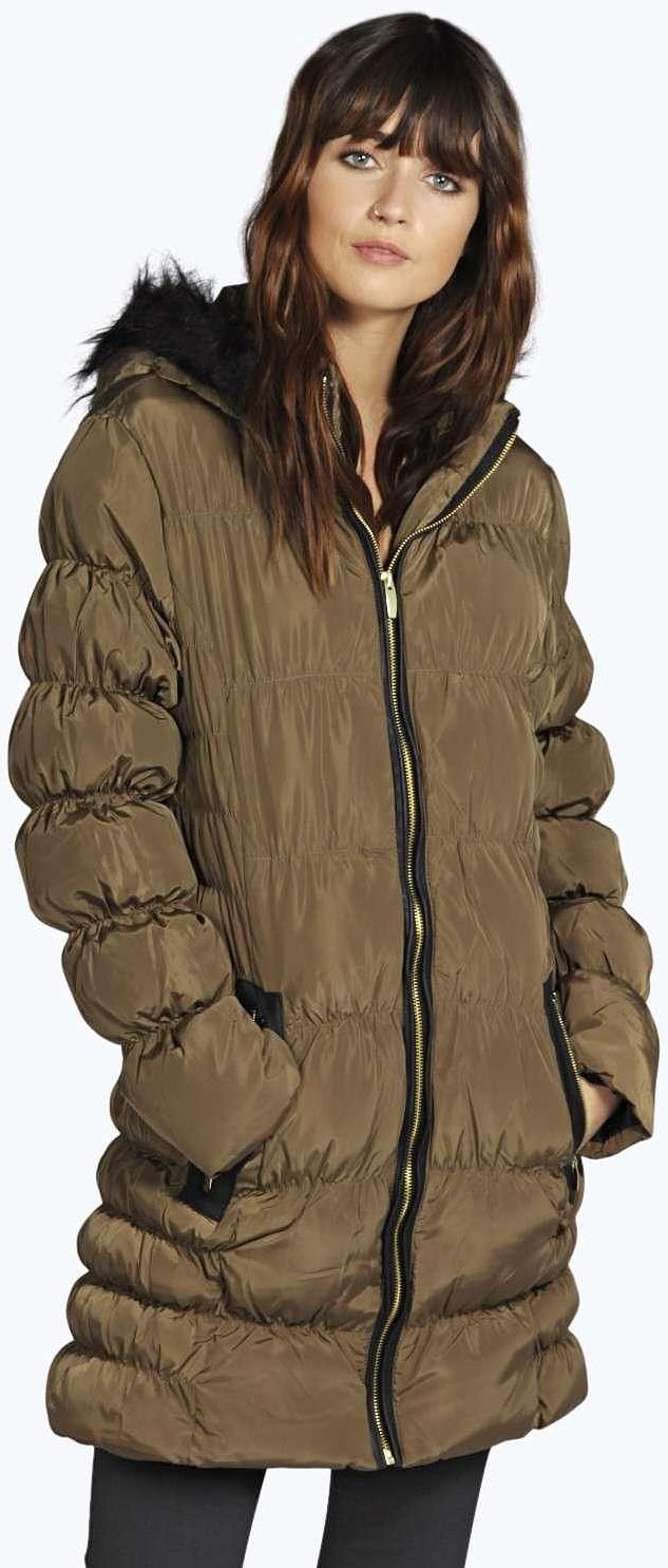 Womens khaki brown coat from boohoo.com - £40 at ClothingByColour.com