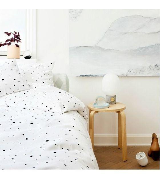 OYOY Dekbedovertrek Dot Bedding wit zwart katoen 140x220cm - wonenmetlef.nl