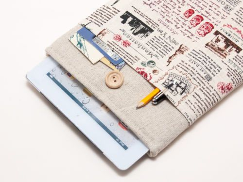 ipad air case with famous statues pocket and button closure. Handmade sleeve