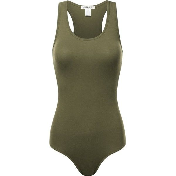 FPT Womens Basic Tank Top Bodysuit OLIVE LARGE ($11) ❤ liked on Polyvore featuring tops, army green tank top, green body suit, bodysuit tank top, olive green tank top and bodysuit tops