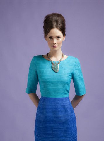 silk dress with sleeves in blue, mother of the bride, ascot outfit – Lalage Beaumont Designer Womenswear
