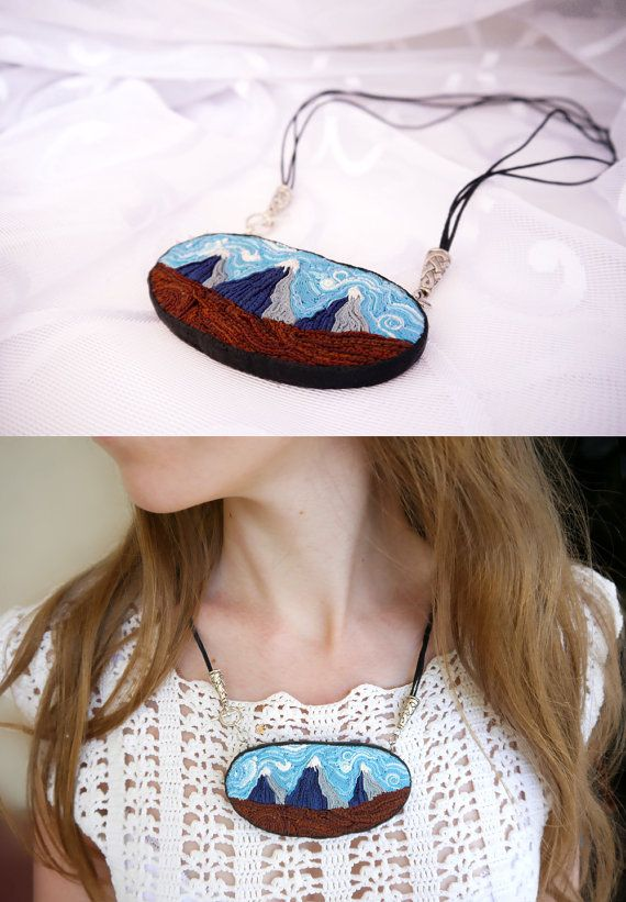 Mountain pendant Mountain necklace Polymer clay by BeLoveCreate