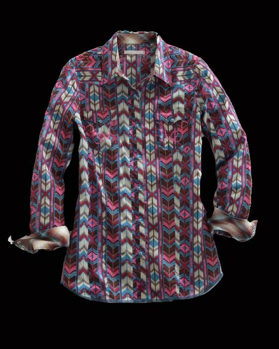 Tin Haul® Women's Pink Aztec Print Long Sleeve Snap Cowgirl Shirt | On Sale Now at http://www.westernshirts.com/tin-haul-womens-pink-aztec-print-ls-snap-cowgirl-shirt