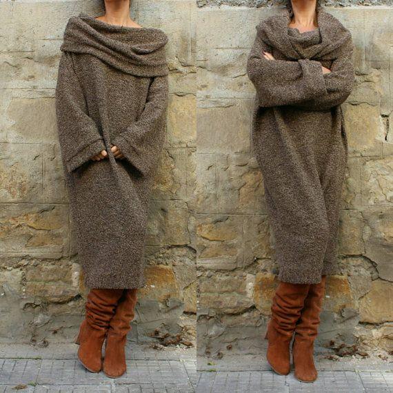 Brown Wool Maxi dress, Jumper dress, Turtleneck dress, Hooded dress, Oversized dress, Wool dress,Fall Winter dress,Sporty dress,Casual dress