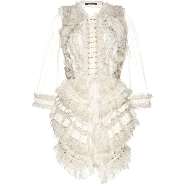 Roberto Cavalli Feather Applique Ruffle Short Dress ($16,800) ❤ liked on Polyvore featuring dresses, gowns, neutral, white gown, long sleeve ball gowns, white long-sleeve dresses, short dresses and white long sleeve dress
