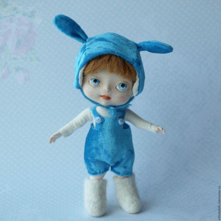Купить Кукла мальчик Зайчик из полиуретана - голубой, рыжий мальчик, рыжая кукла, кукла рыжая