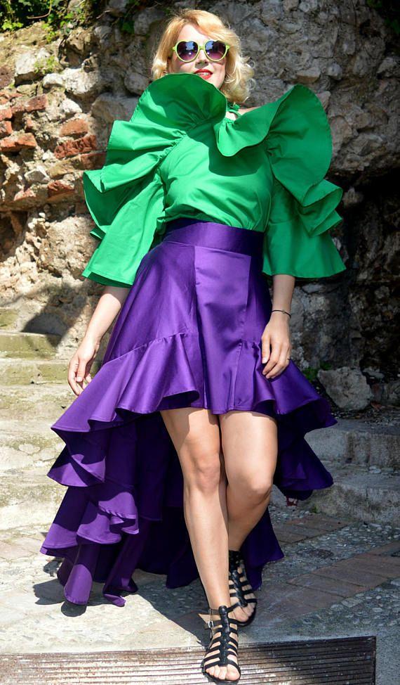 Purple Ruffled Cotton Skirt, Extravagant Ruffled Skirt, Purple Cropped Long Tailed Skirt, Stylish Ruffled Skirt TS18, La Dolce Vita