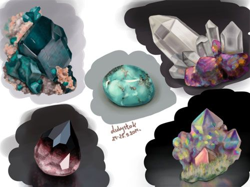 зарисовки драгоценных камней. Нарисовано в ФШ