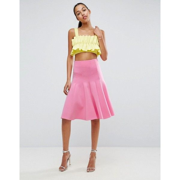 ASOS Prom Skirt with High Waist in Scuba (61 CAD) ❤ liked on Polyvore featuring skirts, pink, high waisted knee length skirt, high waisted midi skirt, pink pleated skirt, prom skirt and asos skirts