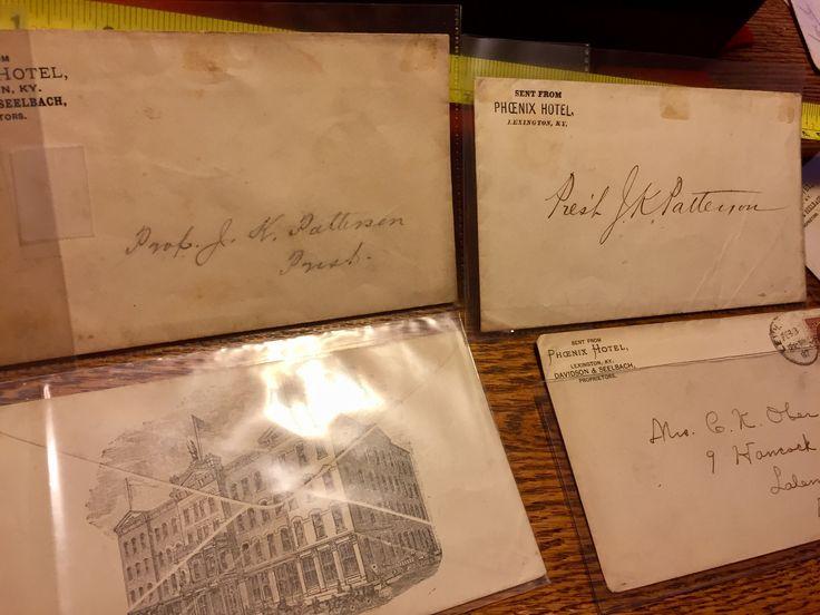 Envelopes addressed to University of Kentucky president Patterson, Phoenix hotel Lexington Kentucky