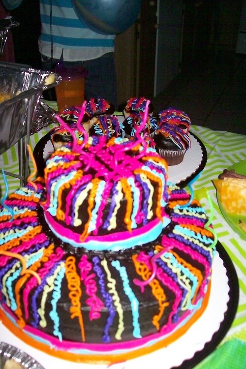 Birthday Cake From Sams Club Its Black And Neon Icing All Came To Less Then 2500