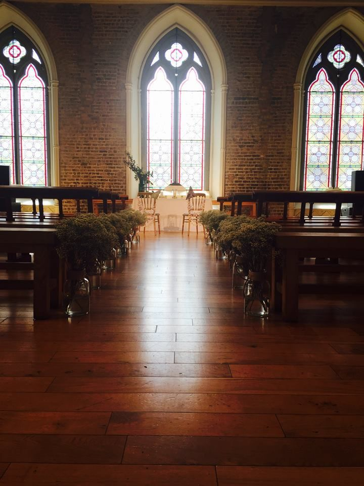 Some of our Delysia multi strand garlands used to decorate the chairs at a summer wedding in the lovely surroundings of Smock Alley Theatre Dublin!  Photos - Smock Alley Theatre facebook