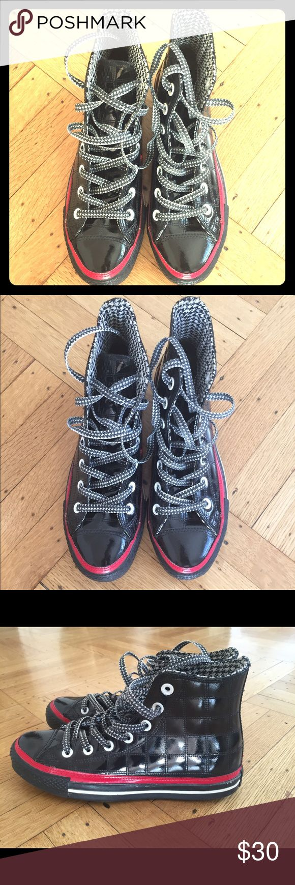Hi Top Converse Black, patent leather with hounds tooth lining and red stitching. Converse Shoes Sneakers