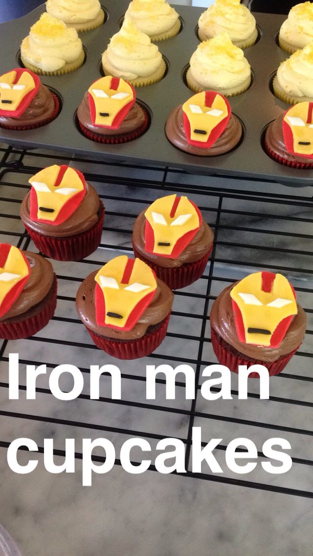 Chocolate and fondant Iron Man cupcakes