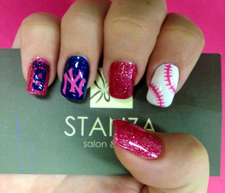 NY Yankees Nail art design in gel @stanzasalon