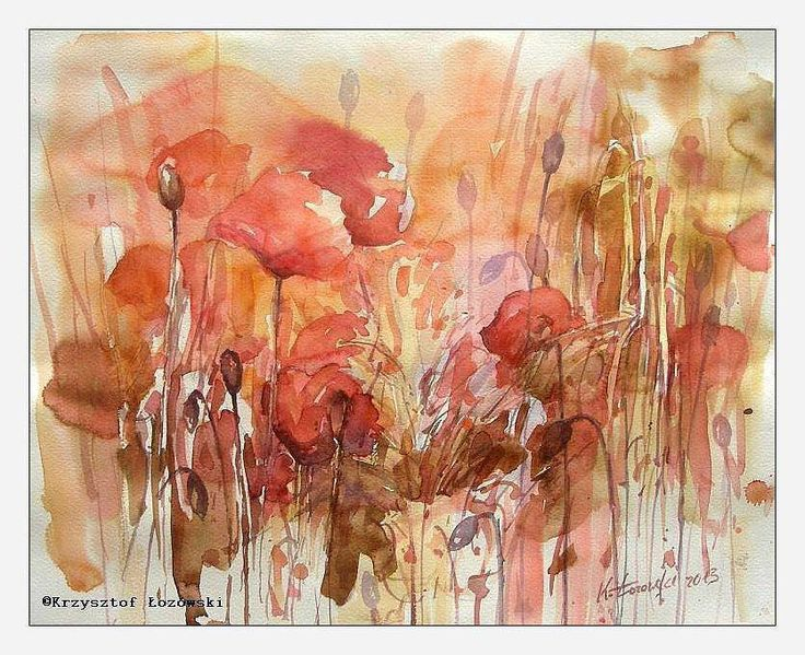 Poppies, watercolour, 50x40cm, for sale