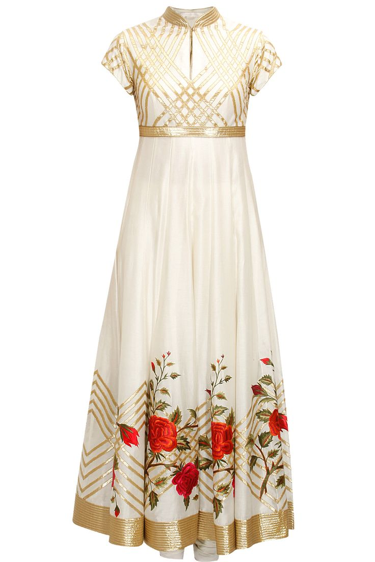 Ivory floral thread embroidered anarkali set available only at Pernia's Pop-Up Shop.