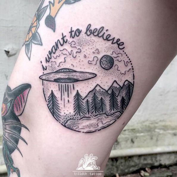 UFO Tattoo Design by Herzdame Tätowierungen