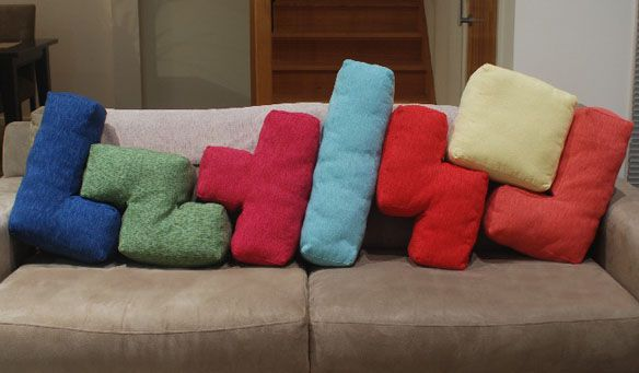 Tetris Cushions: Games Rooms, Tetri Pillows, Tetri Cushions, Kids Plays Rooms, Rec Rooms, Throw Pillows, Couch Pillows, Kids Rooms, Couch Cushions