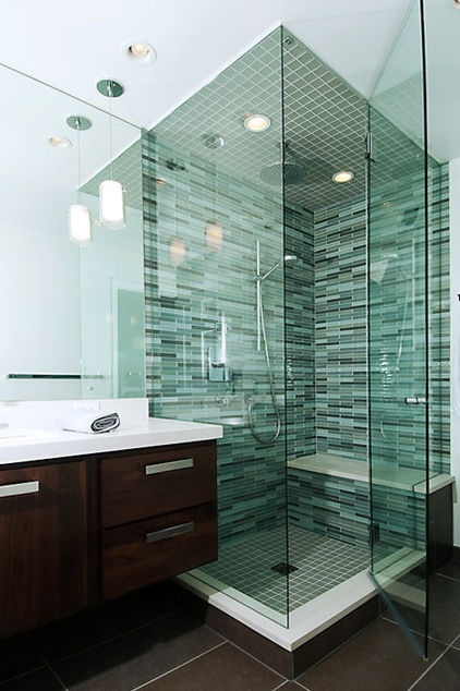 Bathroom   Shower With Tinted Green Glass Enclosure, Bench, Rain Fall  Shower Head Surrounded
