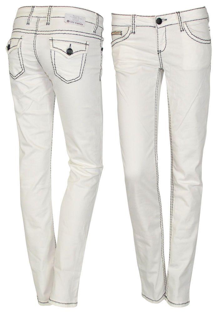 Cipo & Baxx Damen Jeans Röhre Hose CBW-0609 Kontrast Nähte W26 27 28 29 31 L32