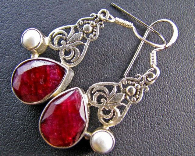 44 Cts Ruby  n pearl set in Silver Earrings  MJA 643  NATURAL RUBY AND PEARL EARRING SET GEMSTONE SET JEWELLERY AT GEMROCKAUCTIONS