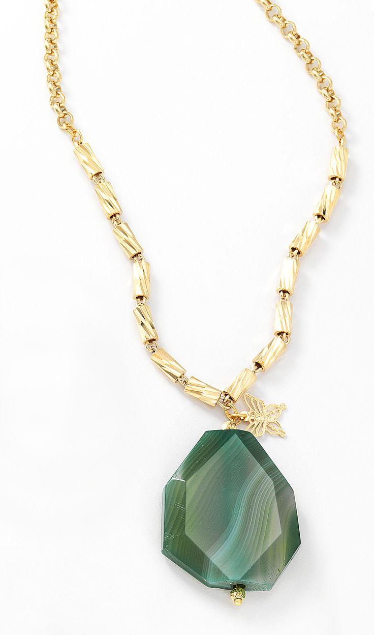 Collar en 4 ba os de oro con dije de agata verde nice for Banos electroliticos para joyeria