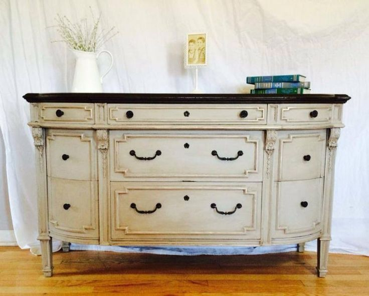 Buffet in Linen Milk Paint and Van Dyke Brown Glaze Effects | General Finishes Design Center