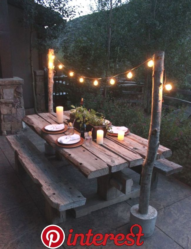 20 Diy Ideas For Outdoor Dining Spaces Page 14 Of 22 Draped Lights Over An Old Wood Ta Backyard Deck Ideas On A Budget Backyard Decor Outdoor Dining Spaces