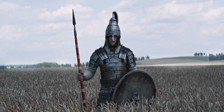 «Langobards warriors». Langobard warrior with Avar lamellar helmet and lamellar armour, reconstruction based on findings in Niederstotzingen (Germany), shield (decorated with motifs from a fibulae found in Cividale del Friuli) and spatha (straight and long sword). Northern Italy, 6th century. Historical reenactment