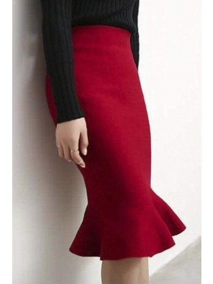 Women's Fashion High Rise Fishtail Hem Knit Plain Pencil Midi Skirt  | WithChic
