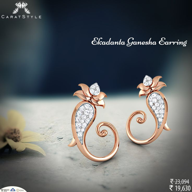 May you find all delights of life with ekadanta #ganesha earring. #diamond…