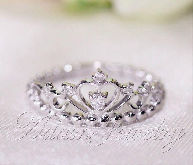 Disney Princess Promise Rings: Fancy Crown Ring 14k White Gold & Diamonds Wedding Ring