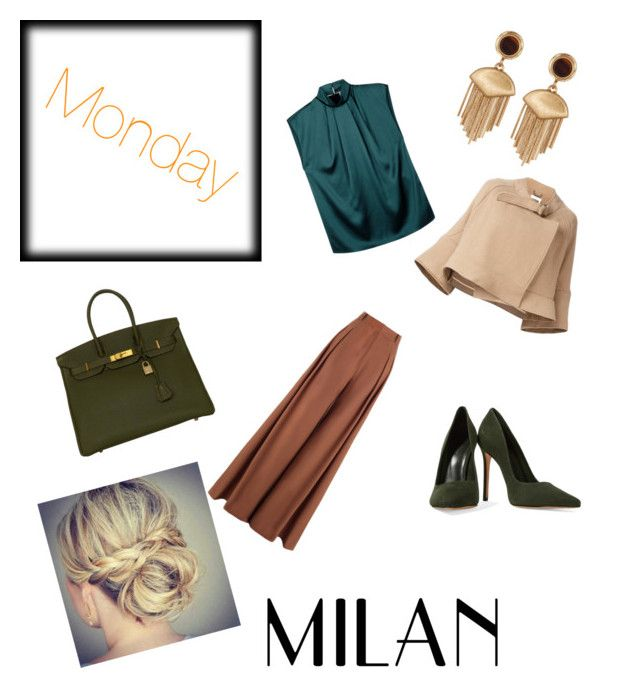 """""""Monday mood"""" by dalia-valle ❤ liked on Polyvore featuring Zimmermann, Lanvin, Chloé, Schutz, Vince Camuto and Hermès"""