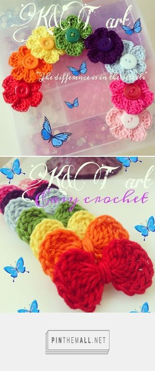 Crochet Flower Motif And Crochet Bow Motif By Yuni Macor - Free Crochet Patterns - (kntart.blogspot)