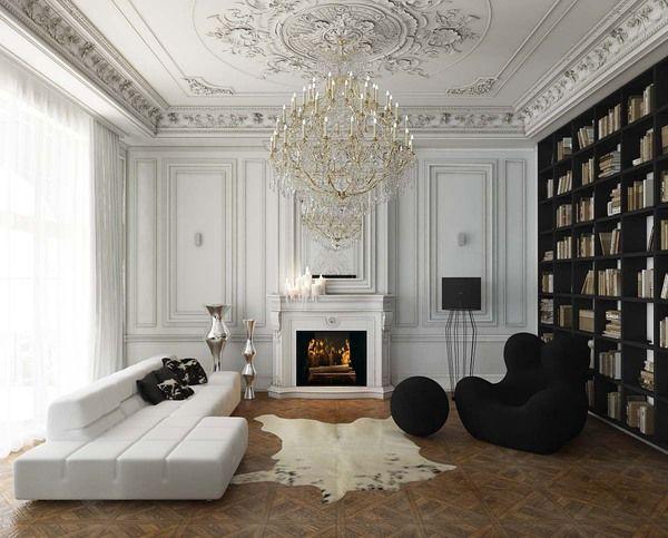 Villa by Nikita Borisenko, black bookshelf wall, ornate ceiling moulding, chandelier, modern tufted sofa, eclectic living room